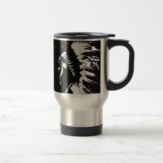 Native American Indian within Flames Travel Mug