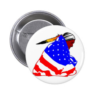 Native American Indian Wrapped In American Flag Button