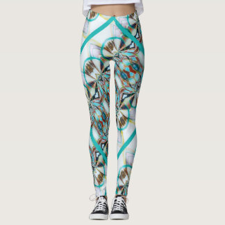 Native American inspired with turquoise ribbons Leggings