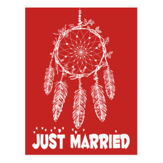 Native American Just Married Dream Catcher  Red Postcard