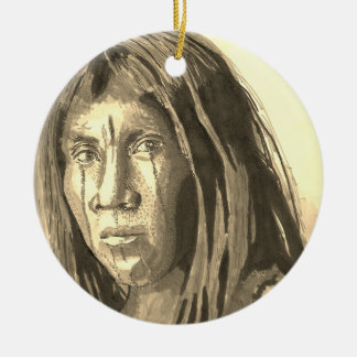 Native American Marker Portrait Ceramic Ornament