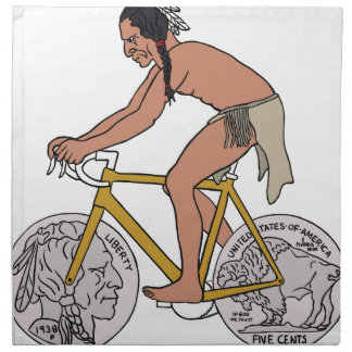 Native American On Bike W/ Buffalo Head Coin Wheel Napkin