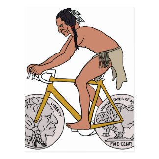 Native American On Bike W/ Buffalo Head Coin Wheel Postcard