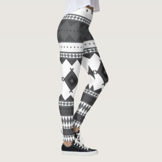 Native American Pattern: Black & Grey Leggings
