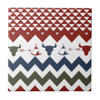 Native American Red Blue Chevron Tipi Skulls Arrow Small Square Tile