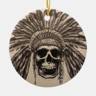 Native American Skull Chief (indian) Ceramic Ornament