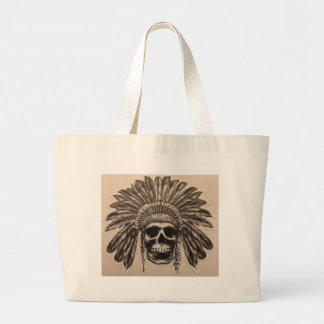 Native American Skull Chief (indian) Large Tote Bag