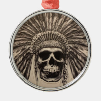 Native American Skull Chief (indian) Metal Ornament