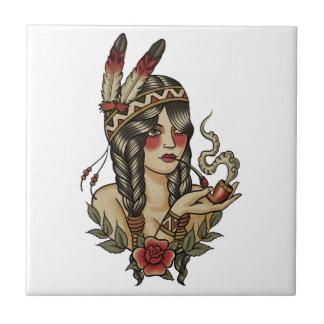 native American squaw smoking a pipe Ceramic Tile