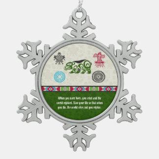 Native American Symbols and Wisdom - Bear Pewter Snowflake Decoration