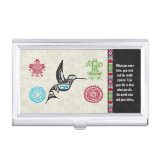 Native American Symbols and Wisdom - Hummingbird Business Card Case
