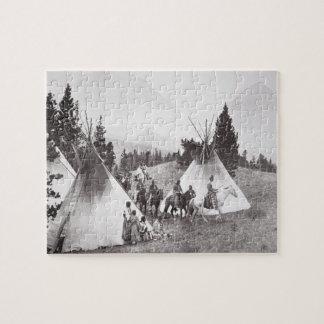 Native American Teepee Camp, Montana, c.1900 (b/w Jigsaw Puzzle