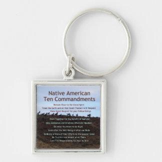 Native American Ten Commandments Key Ring