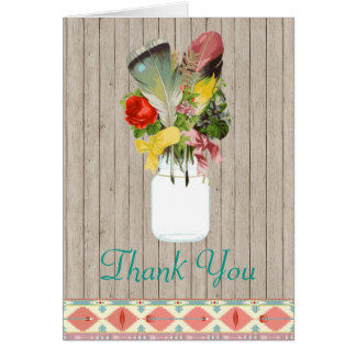 Native American Thank You Card Feathers