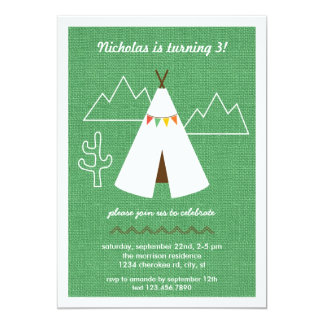 Native American Tipi Birthday Party Invitation