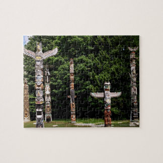 Native American totem poles, Vancouver, British Jigsaw Puzzle