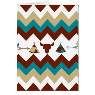 Native American Tribal Chevron Skulls Tipi Arrows Card