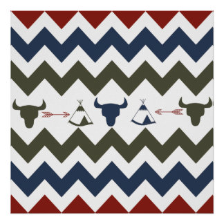 Native American Tribal Chevron Skulls Tipi Arrows Poster