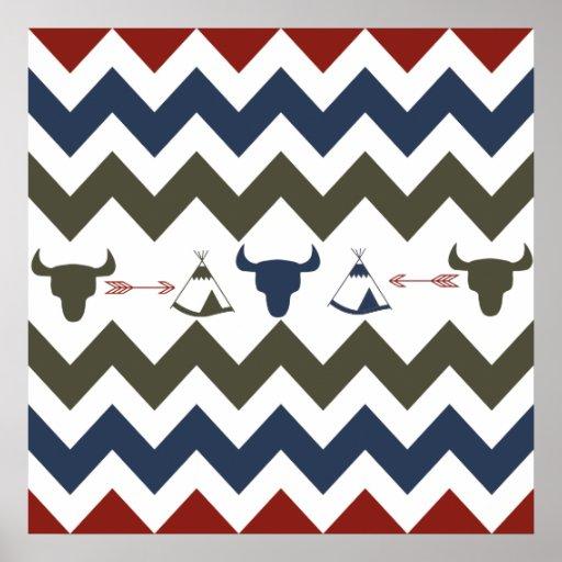 Native American Tribal Chevron Skulls Tipi Arrows Print