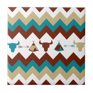 Native American Tribal Chevron Skulls Tipi Arrows Small Square Tile