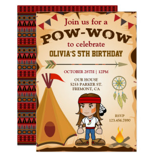 Native American Tribal Kids Birthday Party Invite