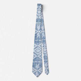 Native American Tribal Pattern Blue Denim Tie
