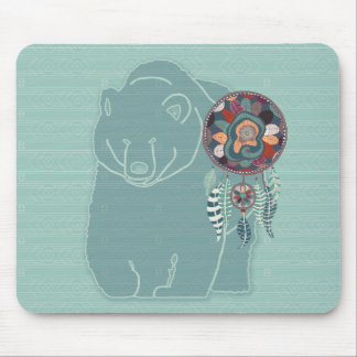 Native American Tribal Spirit Bear Soft Greens Mouse Pad