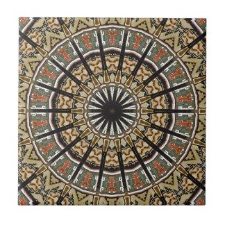 Native American Tribal Star Sun Design Small Square Tile