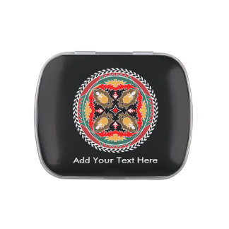 Native American Tribal Style Design Pine Cones Candy Tin