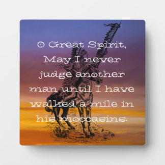 """Native American """"Walk a mile in his moccasins"""" Photo Plaques"""
