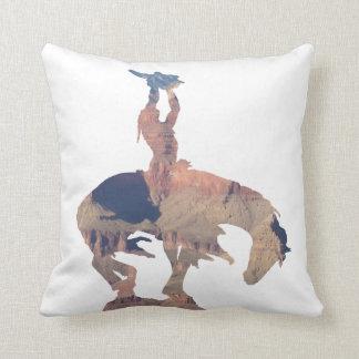 Native American with Buffalo Skull Pillow