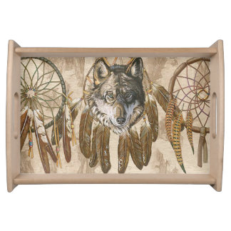 Native American Wolf Serving Tray