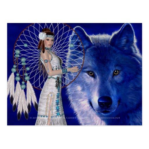 Native American Woman & Blue Wolf Design 2 Postcards
