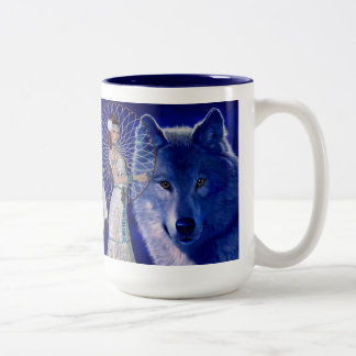 Native American Woman & Blue Wolf Design Coffee Mugs
