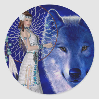 Native American Woman & Blue Wolf Design Round Sticker