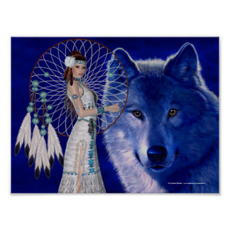 Native American Woman & Blue Wolf Poster Print