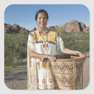Native American woman in traditional clothing Sticker