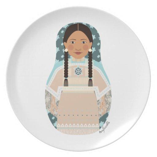 Native American Woman Matryoshka Plate