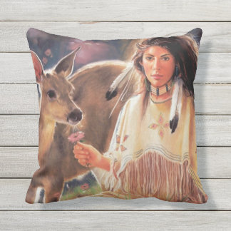 Native American Woman Outdoor Cushion