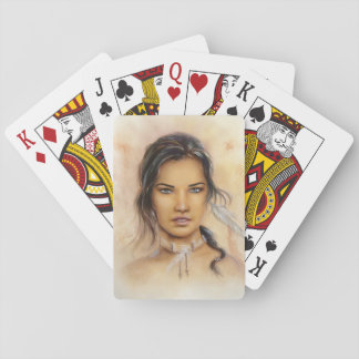 Native American Woman Playing Cards