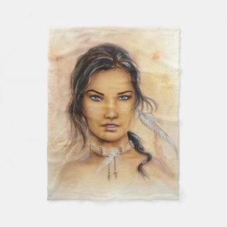 Native American Woman Small Fleece Blanket