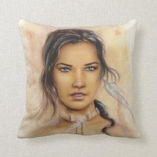 Native American Woman Throw Pillow Throw Cushion