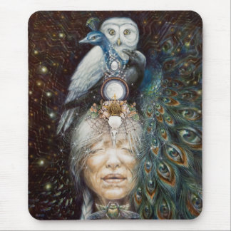 native american woman with owl and peacock mouse pad