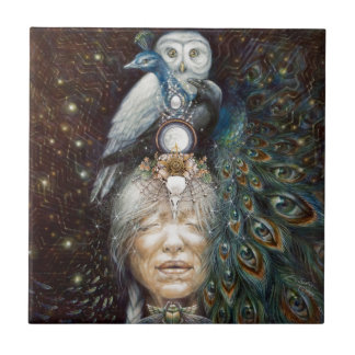 native american woman with owl and peacock small square tile