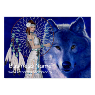Native American Woman & Wolf D2 Business Cards