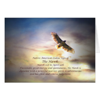 Native American Zodiac Sign of the Hawk Card