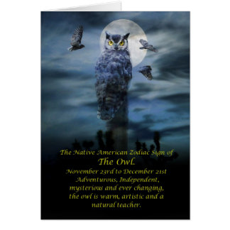Native American Zodiac Sign of the Owl Card