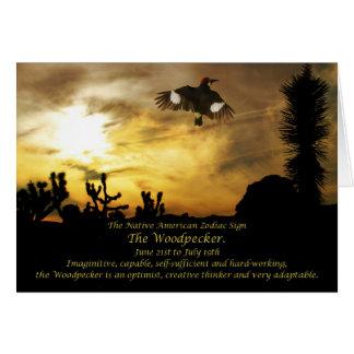Native American Zodiac Sign the Woodpecker-Cancer Card