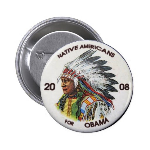 Native Americans for Obama Button
