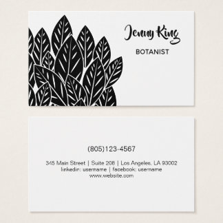 Native B/W Flora Leaves Business Card